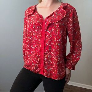 Collective Concepts Red Floral Top Size XXL